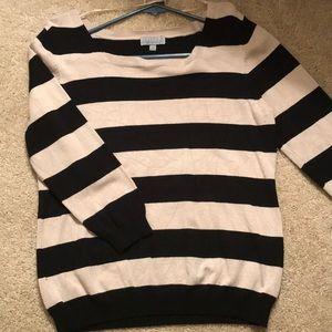 Sweaters - Striped three quarter sleeve top